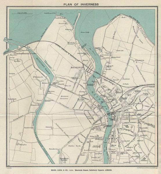 INVERNESS  vintage town/city plan. Scotland. WARD LOCK 1937 old vintage map