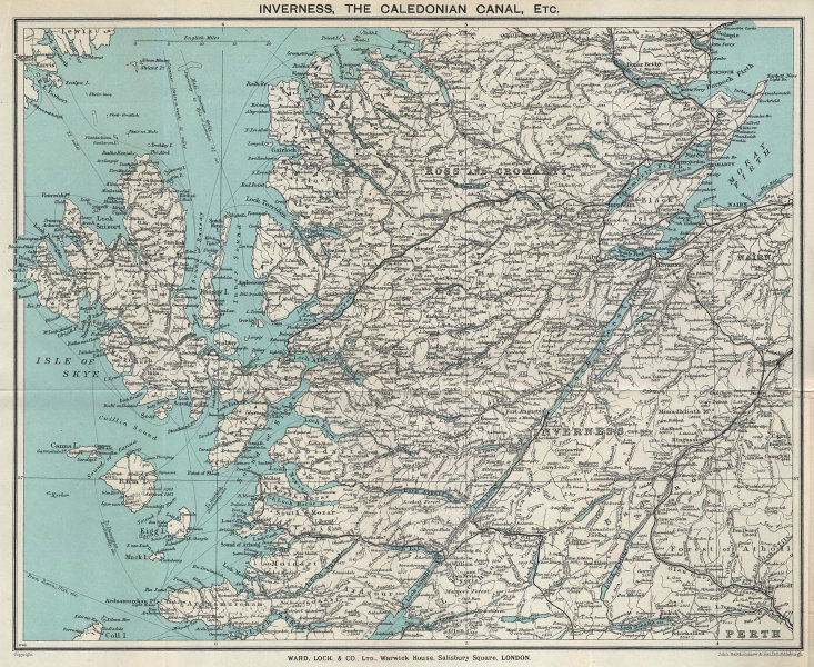 SCOTTISH HIGHLANDS. Caledonia canal Skye Ross & Cromarty. WARD LOCK 1937 map
