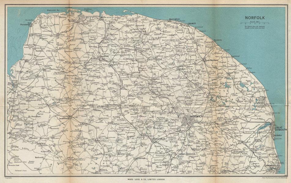 NORFOLK & the Broads. Norwich Great Yarmouth Cromer. WARD LOCK 1961 old map