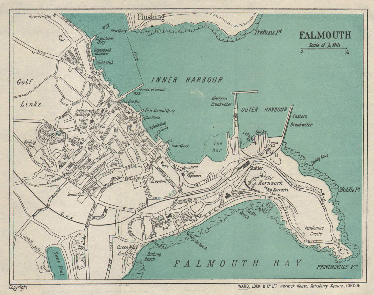FALMOUTH vintage town/city plan. Cornwall. WARD LOCK 1924 old vintage map