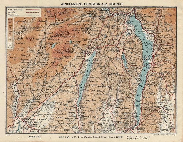WINDERMERE & CONISTON WATER. Ambleside Lake District Cumbria. WARD LOCK 1937 map