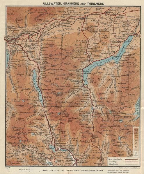 ULLSWATER, GRASMERE & THIRLMERE. Lake District. Cumbria. WARD LOCK 1937 map
