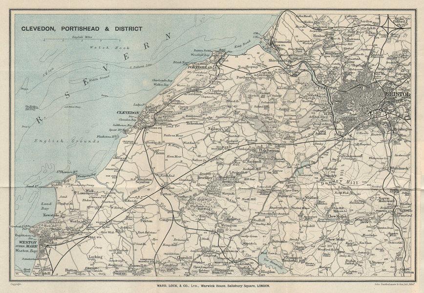 SOMERSET COAST Clevedon Portishead Weston-super-Mare Bristol WARD LOCK 1925 map