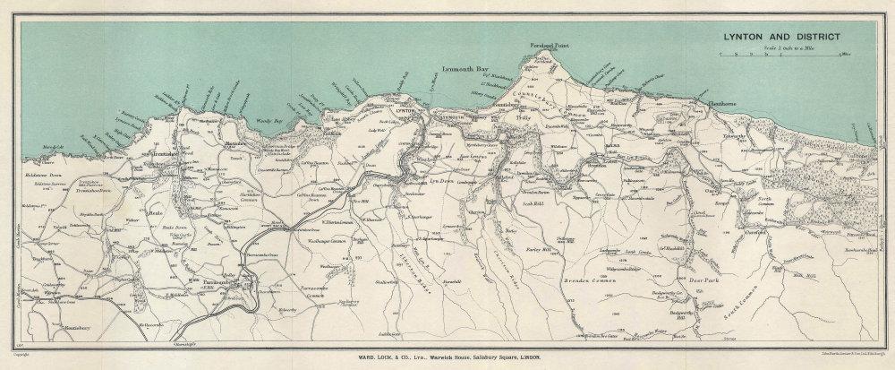 LYNTON & DISTRICT. Exmoor coast vintage tourist map. Devon. WARD LOCK 1929