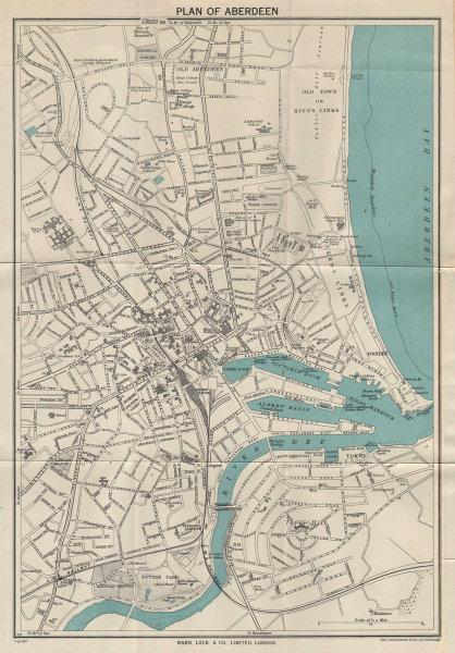 ABERDEEN vintage tourist town city plan. Scotland. WARD LOCK 1950 old map