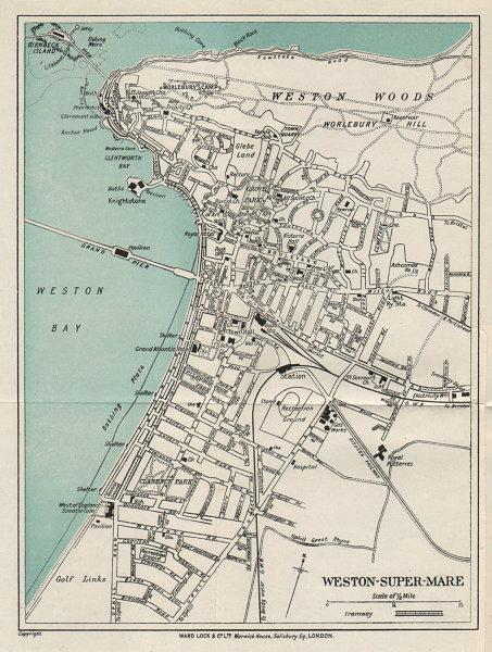 WESTON-SUPER-MARE vintage tourist town city plan. Somerset. WARD LOCK 1925 map