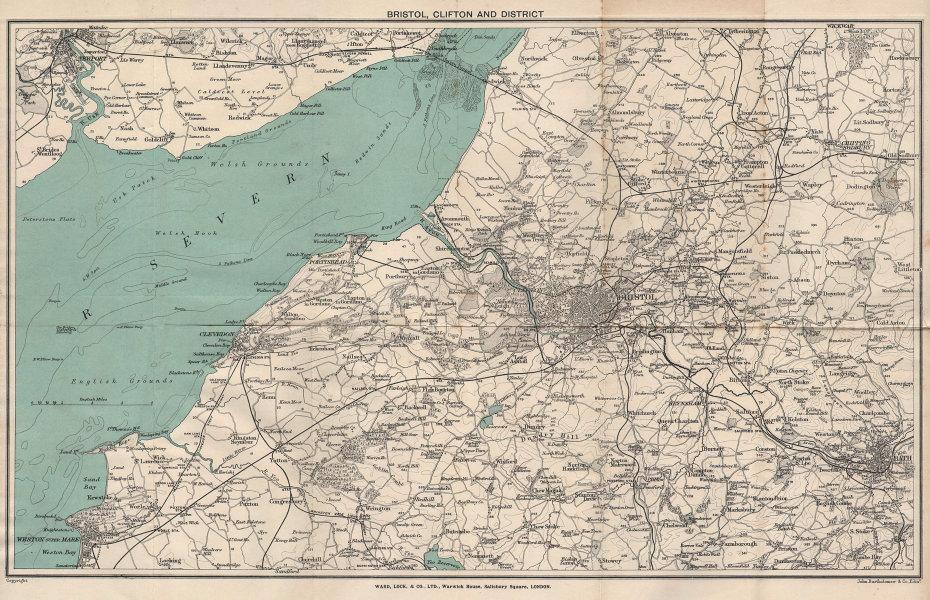 BRISTOL environs. Cotswolds south. Somerset coast Weston Bath WARD LOCK 1904 map