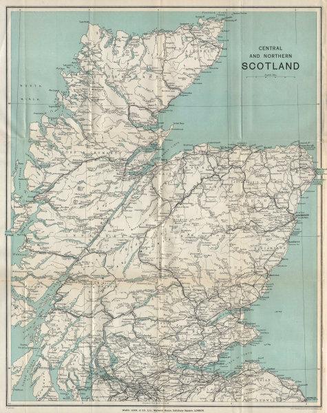 CENTRAL & NORTHERN SCOTLAND. Scottish Highlands. Railways. WARD LOCK 1937 map