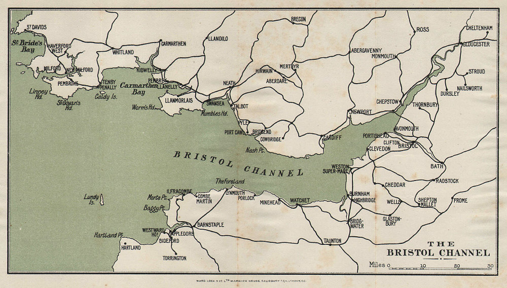BRISTOL CHANNEL. South Wales. North Devon & Somerset coast. WARD LOCK 1904 map