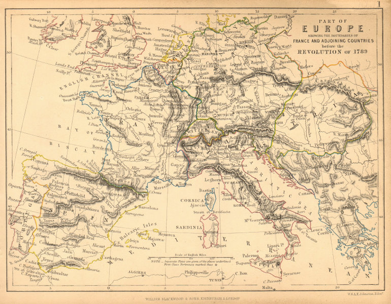 EUROPE before the 1789 French Revolution 1848 old antique map plan chart