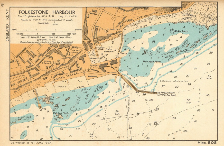 Folkestone Harbour & town plan & sea coast chart. Kent. ADMIRALTY 1943 old map
