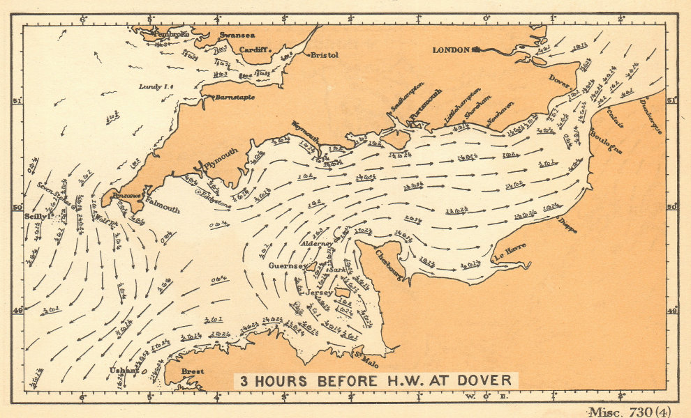 English Channel currents 3 hours before high water at Dover. ADMIRALTY 1943 map