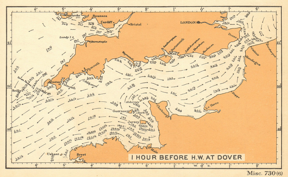 English Channel currents 1 hour before high water at Dover. ADMIRALTY 1943 map