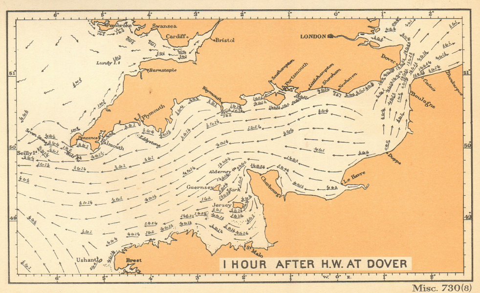 English Channel currents 1 hour after high water at Dover. ADMIRALTY 1943 map