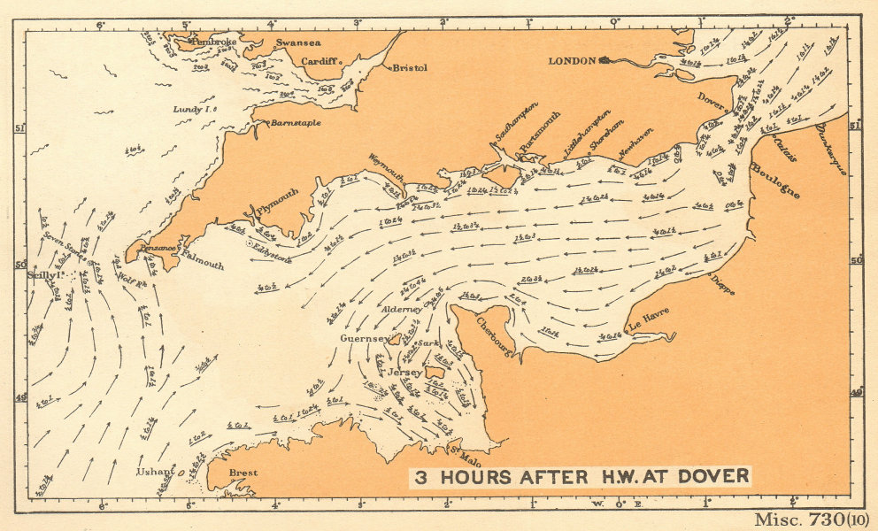 English Channel currents 3 hours after high water at Dover. ADMIRALTY 1943 map