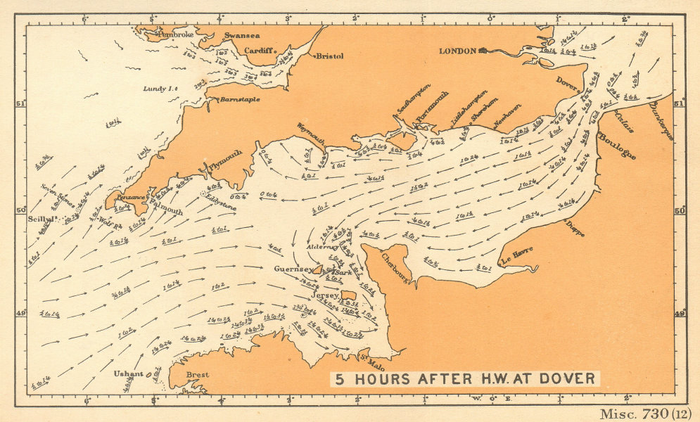 English Channel currents 5 hours after high water at Dover. ADMIRALTY 1943 map