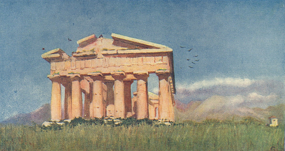 NAPOLI. 'The Temple of Poseidon, Paestum' by Augustine Fitzgerald. Naples 1904