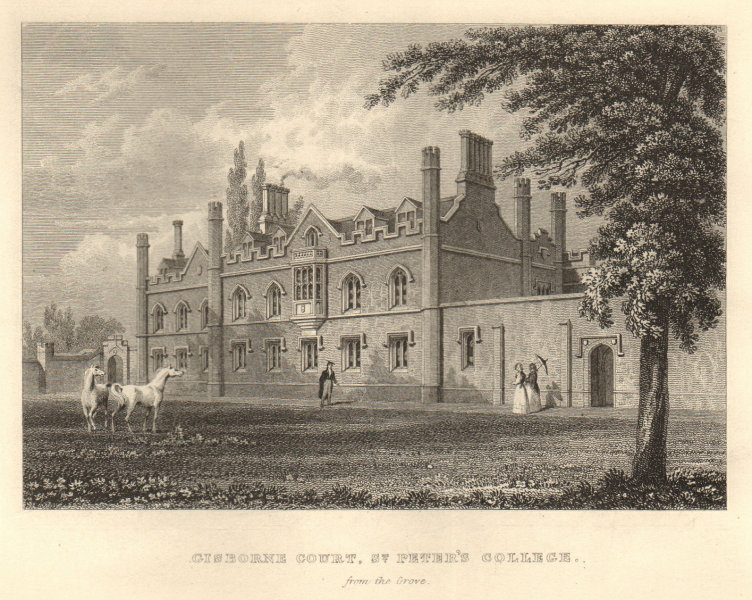 Gisborne Court, St Peter's College from the Grove, Cambridge. LE KEUX 1841