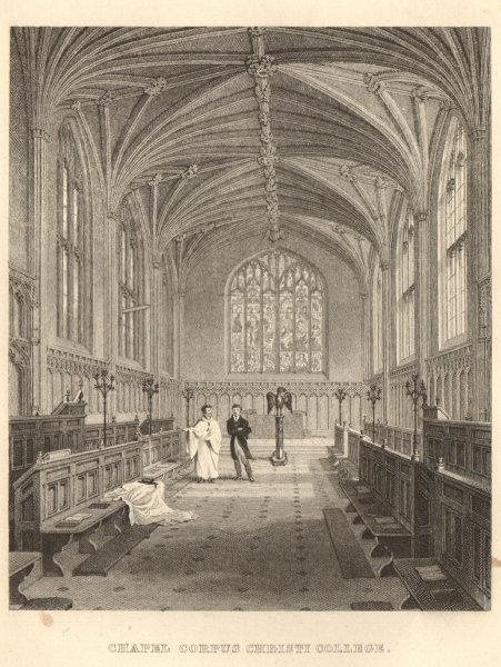 Corpus Christi College chapel, Cambridge. LE KEUX 1841 old antique print