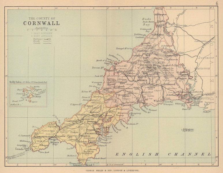 CORNWALL. Antique county map. Railways roads canals. Constituencies. PHILIP 1885