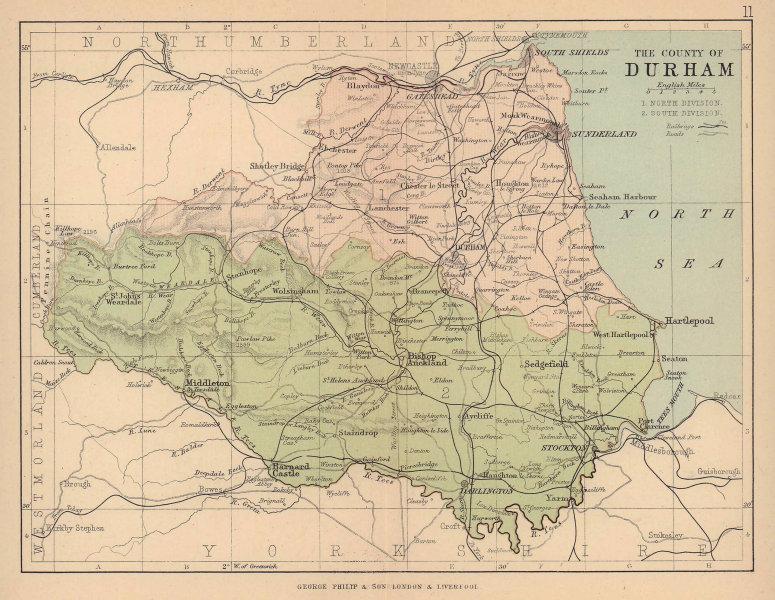 COUNTY DURHAM. Antique map. Railways roads. Constituencies. PHILIP 1885