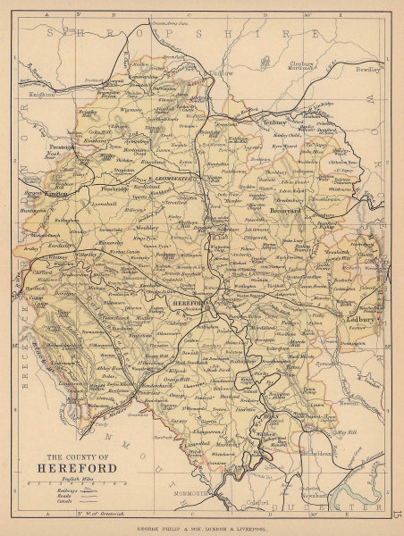 HEREFORDSHIRE. Antique county map. Railways roads canals. PHILIP 1885 old