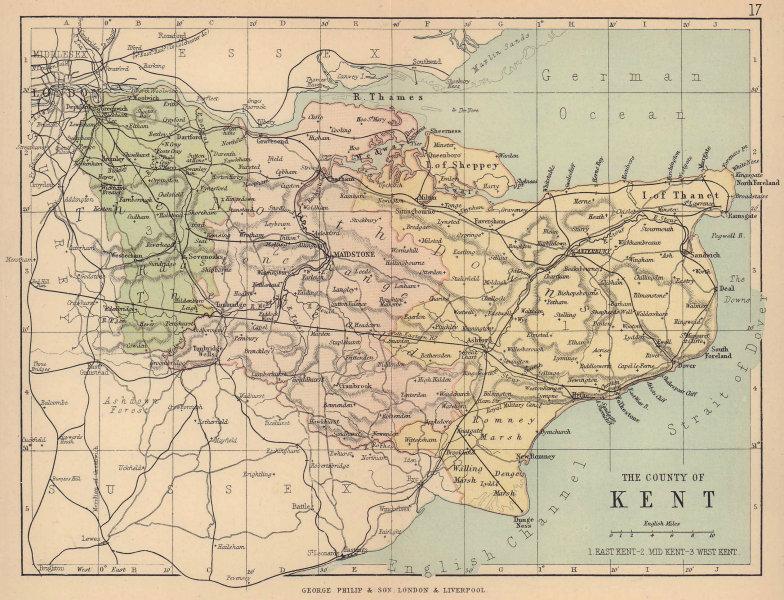 KENT. Antique county map. Railways roads. Constituencies. PHILIP 1885 old
