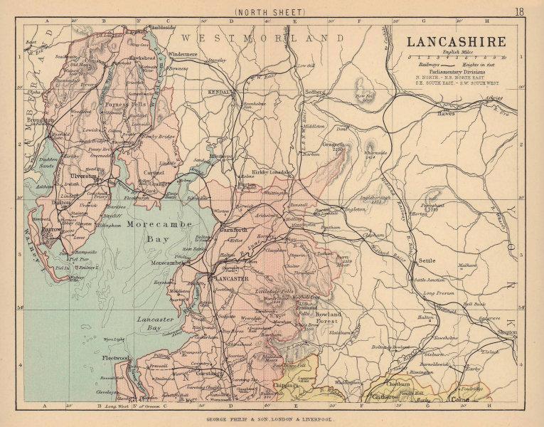 LANCASHIRE NORTH. Antique county map. Railways. PHILIP 1885 old