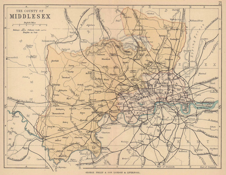 MIDDLESEX. Antique county map. Railways roads. London. PHILIP 1885 old