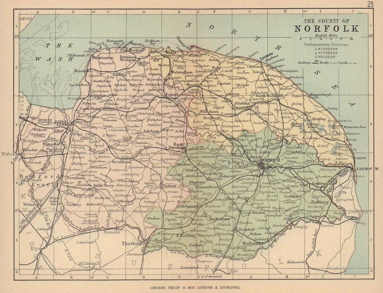 NORFOLK. Antique county map. Railways roads canals. Constituencies. PHILIP 1885