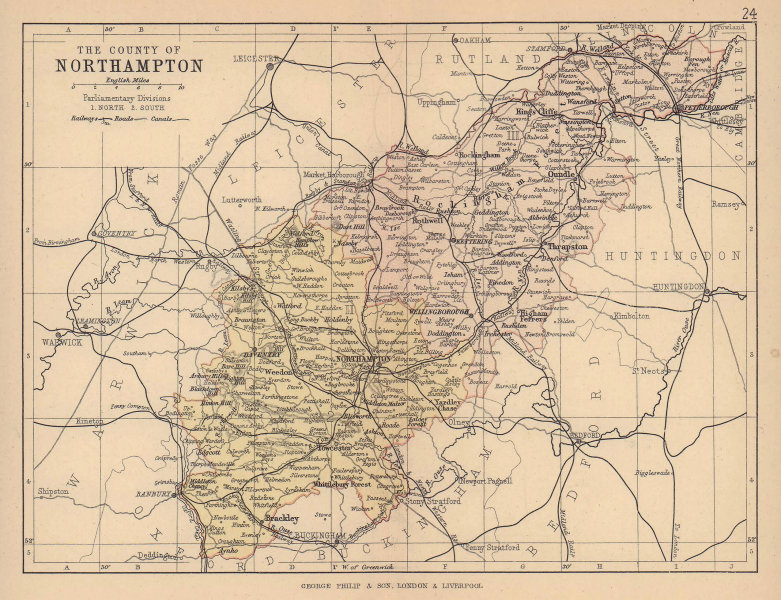NORTHAMPTONSHIRE. County map. Railways canals. Constituencies. PHILIP 1885