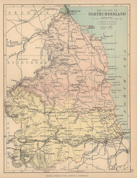 NORTHUMBERLAND. Antique county map. Railways roads. Constituencies. PHILIP 1885
