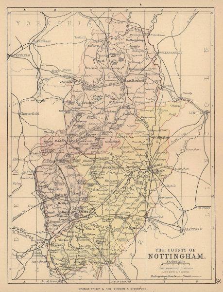 NOTTINGHAMSHIRE. County map. Railways canals. Constituencies. PHILIP 1885