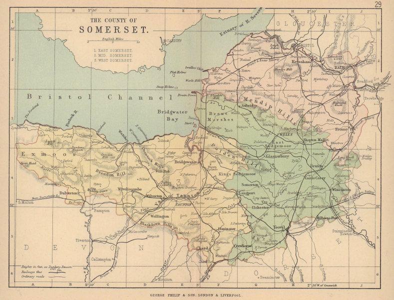 SOMERSET. Antique county map. Railways. Constituencies. PHILIP 1885 old