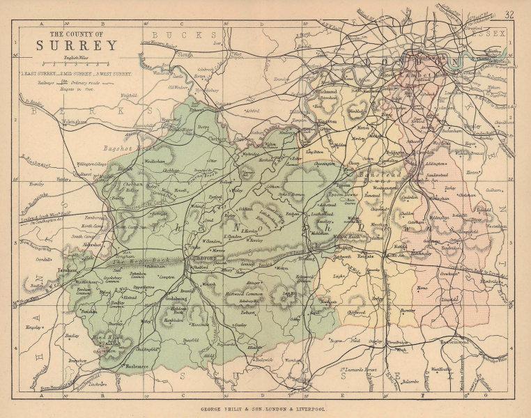 SURREY. Antique county map. Railways roads. Constituencies. London. PHILIP 1885