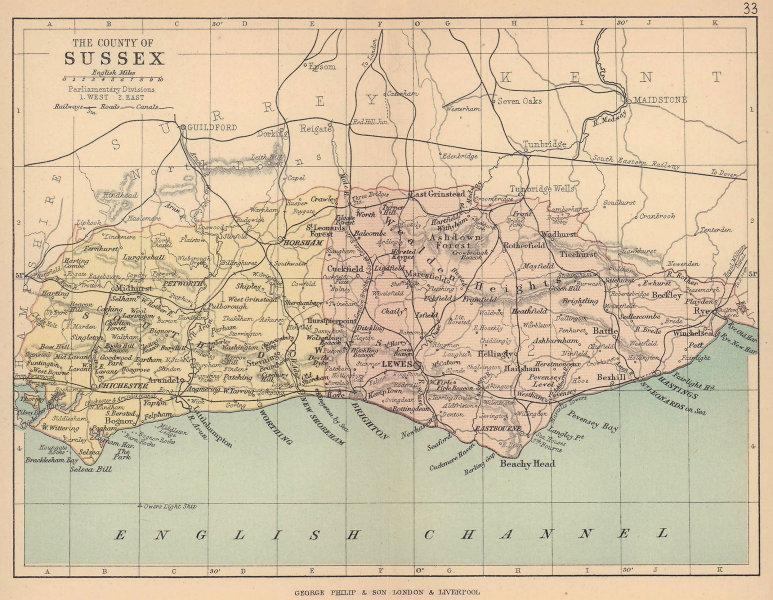 SUSSEX. Antique county map. Railways roads canals. Constituencies. PHILIP 1885