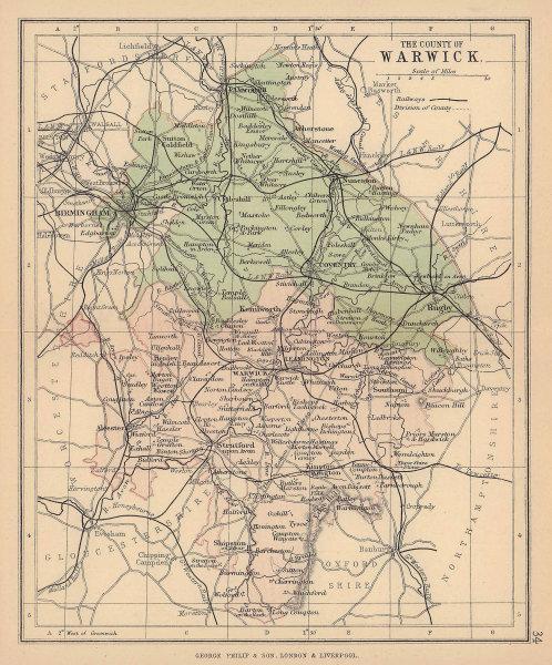 WARWICKSHIRE. Antique county map. Railways. Constituencies. PHILIP 1885