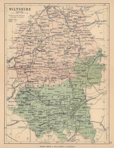 WILTSHIRE. Antique county map. Railways roads canals constituencies. PHILIP 1885