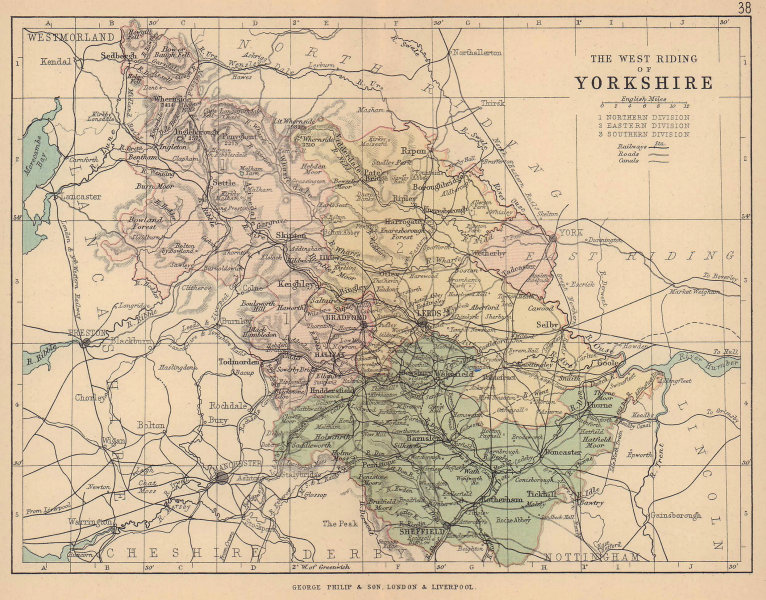 YORKSHIRE WEST RIDING. County map. Railways canals. Constituencies. PHILIP 1885