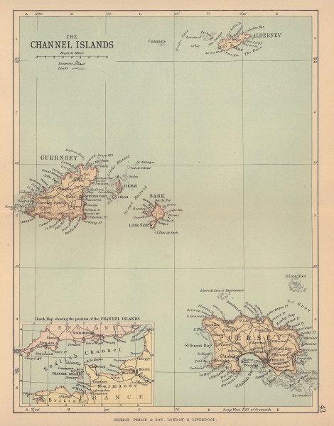 CHANNEL ISLANDS. Antique map. Jersey Guernsey Sark Alderney. PHILIP 1885