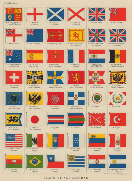 NATIONAL FLAGS. Ensigns, Royal & Imperial Standards. JOHNSTON 1910 old map