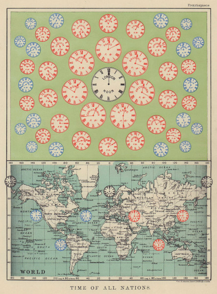 TIME OF ALL NATIONS. predates UTC/standard hourly time zones. JOHNSTON 1910 map