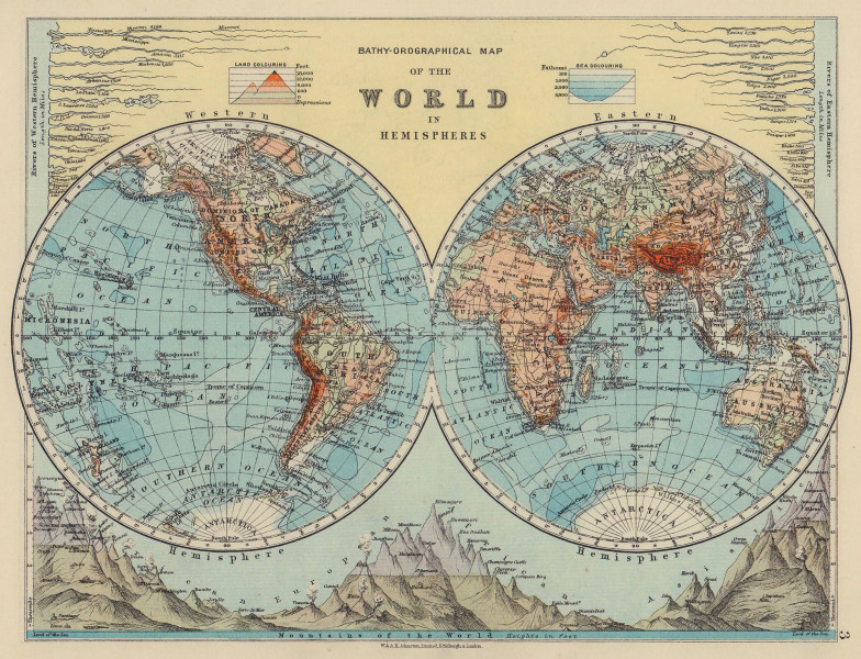 WORLD TWIN HEMISPHERES. Relief. Mountains. Rivers. JOHNSTON 1910 old map
