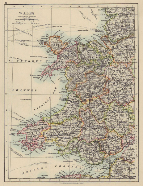 WALES. Showing counties. Telegraph cables. JOHNSTON 1910 old antique map chart