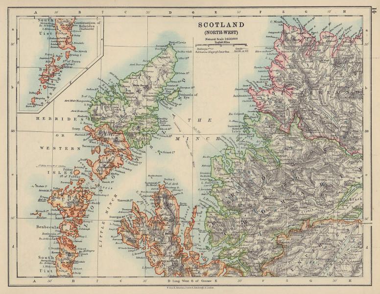 HEBRIDES. Skye Harris Lewis Uist Cromarty Highlands Scotland. JOHNSTON 1910 map