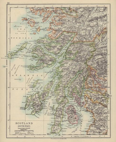 ARGYLLSHIRE. South West Scotland. Bute Arran Dumbarton. JOHNSTON 1910 old map