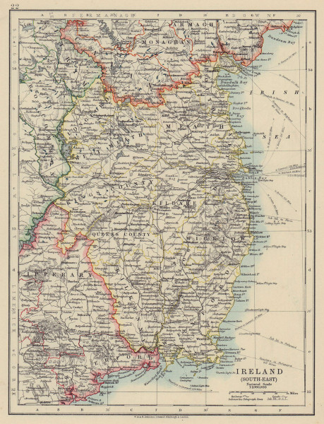 LEINSTER. Meath Dublin Longford Wexford Wicklow. SE Ireland. JOHNSTON 1910 map