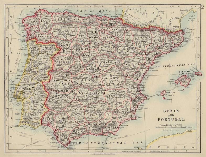 SPAIN AND PORTUGAL. Iberia. Provinces railways. Balearics. JOHNSTON 1910 map