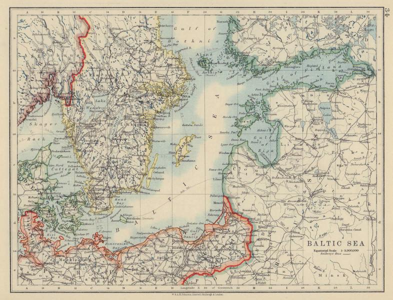 BALTIC SEA. Sweden Prussia Denmark Livonia Courland Finland. JOHNSTON 1910 map