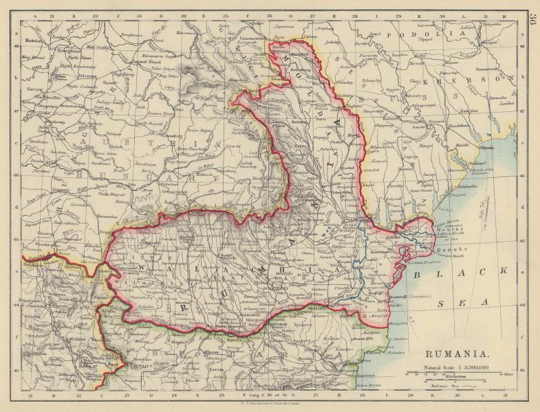 RUMANIA. Romania Walachia Moldavia Moldova. Railways. JOHNSTON 1910 map